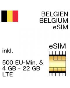 Belgien (Belgium) Prepaid eSIM inkl. 4 GB - 22 GB und 500 Min. Telefonie