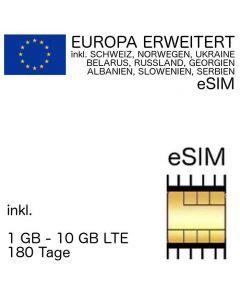 EUROPA eSIM (42 Länder* erweitert) inkl. 1 GB - 10 GB (180 Tage)