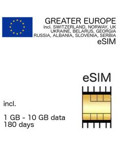 EUROPE eSIM 180 days (42 countries* extended) incl. 1 GB - 10 GB