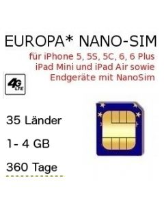 Europa NanoSIM 360 Tage