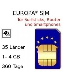 Europa SIM 360 Tage