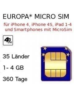 Europa Micro-Sim 360 Tage