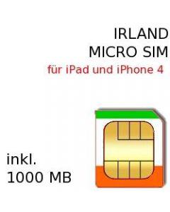 Irland Prepaid Daten MICRO-SIM für iPad 1-4 und iPhone 4, iPhone 4S und Smartphones mit MicroSim