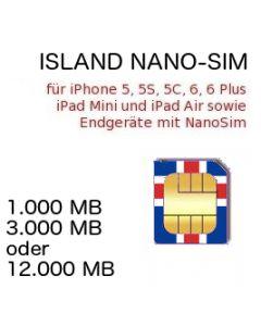 Island Prepaid Daten NANO-SIM inkl. 1000-12.000 MB für iPhone 5, 5C, 5S, 6, 6Plus, iPhone 7, iPad MINI, iPad Air, iPad Pro und Endgeräte mit NanoSim