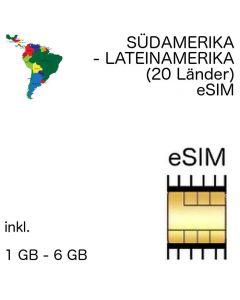 Südamerika eSIM Lateinamerika